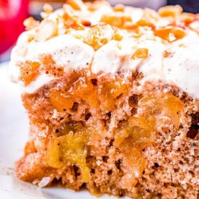 Apple Poke Cake with Dulce de Leche