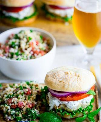 Grilled za'atar chicken burgers with cucumber mint tzatziki