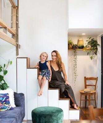Springboard diver Shaye Boddington lands lightly on the planet with an innovative 14-sqm tiny house