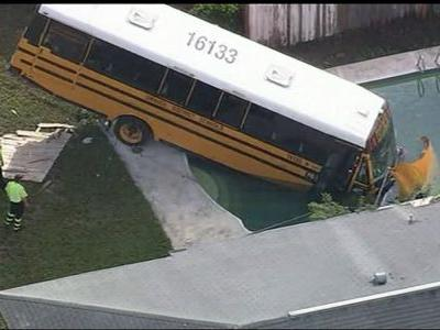 FHP: School bus ends in pool after crash with jeep in Orange County