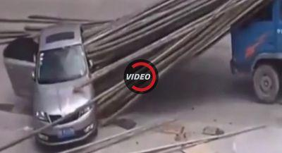 Skoda Rapid Impaled By Bamboo Poles, Somehow Occupants Survive
