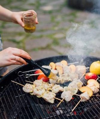 Grilled Peach and Chicken Kebabs