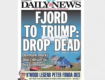NY Daily News Mocks Trump's Greenland Plan With New Take on Classic Headline: 'Fjord to Trump: Drop Dead'