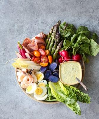 Le Grand Aioli Seafood and Vegetable Crudités Platter with Grilled Scallions