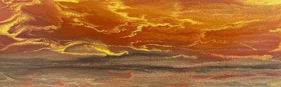 """Abstract Landscape,Sunrise, Sunset Art Painting """"Reflecting a Blazing Sky IV"""" by Colorado Contemporary Artist Kimberly Conrad"""