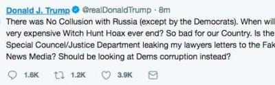 Trump Posts, Deletes Tweet Suggesting Special 'Councel' is 'Leaking My Lawyers Letters'