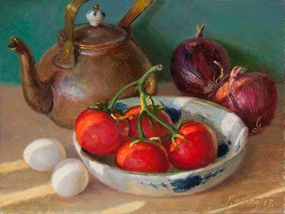 Tomatoes and onion still life daily painting realism