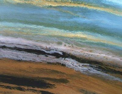 "Original Abstract Seascape Painting, Coastal Art, Beach Painting ""Rolling In"" by International Contemporary Artist Kimberly Conrad"