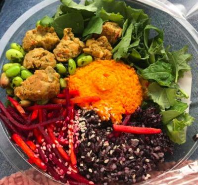 Adding black rice to your packed salad will stop it from getting all soggy