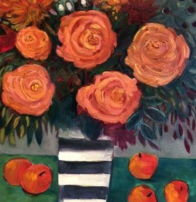 """Contemporary Abstract Bold Expressive Still Life Flower Art Painting """"APRICOT ROSES"""" by Santa Fe Artist Annie O'Brien Gonzales"""