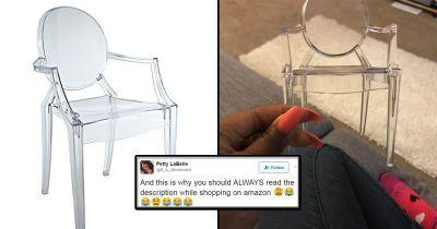 Girl orders new transparent chair - receives one just big enough for a dolls' house