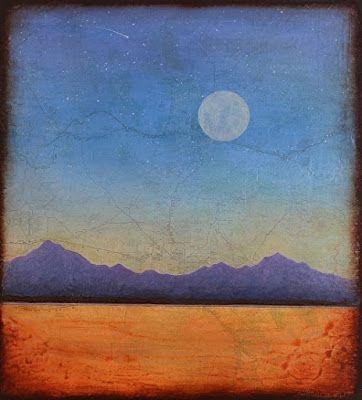 "Contemporary Abstract Mixed Media Painting, Patina ""PHOENIX MOON Map Print"" by Contemporary Artist Brian Billow"