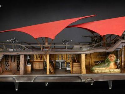 Giant Jabba's Sail Barge Star Wars Toy Fully Backed on HasLab