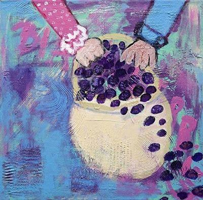 "Summer Sale-Abstract Still Life Narrative Art Painting,Plate,Food,Fish ""Blackberry Pickin"" Narrative Art by Santa Fe Artist Judi Goolsby"