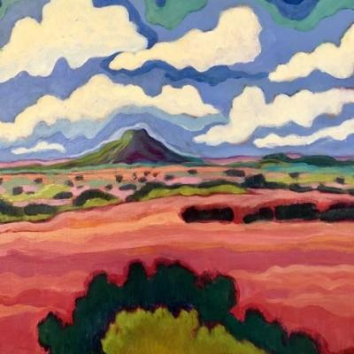 "New Mexico, Contemporary Abstract Bold Expressive Landscape Art Painting ""Pedernal Summer Clouds"" by Santa Fe Artist Annie O'Brien Gonzales"
