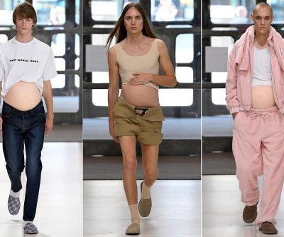 Male models flaunt 'pregnant' bellies on the runway