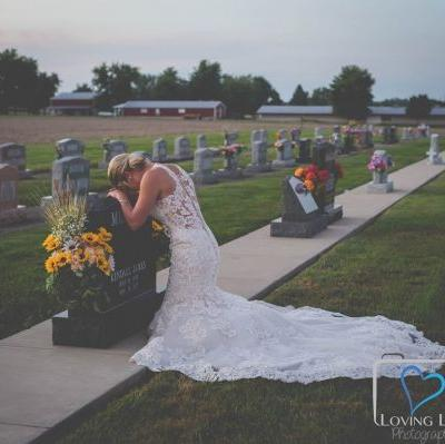 Grieving bride dons wedding dress in heartbreaking photos after fiance killed