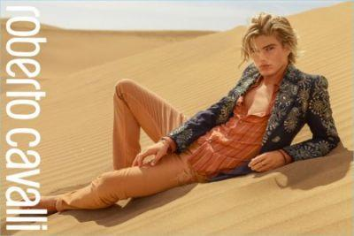Jordan Barrett Takes to the Desert for Roberto Cavalli's Spring '17 Campaign
