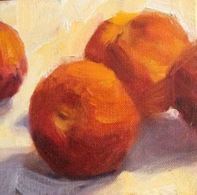 Peaches 6x6 Margaret Aycock oil on canvas