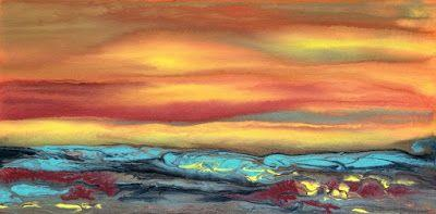 "Holiday Sale,Contemporary Landscape Art ,Abstract Sunset Painting ""Blazing Sky Reflected IX"" by Colorado Contemporary Landscape Artist Kimberly Conrad"