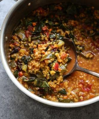 Moroccan Red Lentil Soup with Chard {Video}