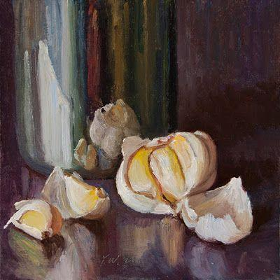 Garlic with a metal cup, still life oil painting daily painting a day