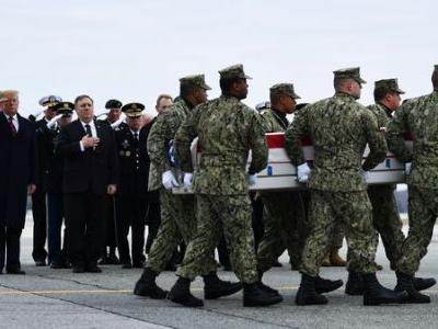 Trump Travels To Dover AFB For Dignified Transfer Of 4 Americans Killed In Syria