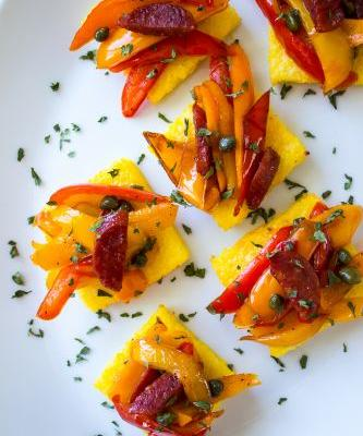 Chorizo and Sweet Pepper Polenta Bites