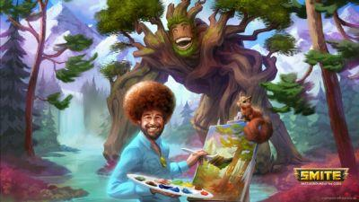 Famous Painter Bob Ross Comes To Smite As Character Skin