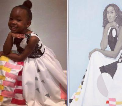 Little girl awestruck by Michelle Obama's portrait went as her for Halloween