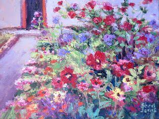 Hibiscus Flower Garden. New Contemporary Landscape Painting by Sheri Jones