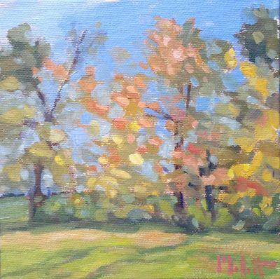 Autumn Landscape Art Original Oil Painting November Confetti