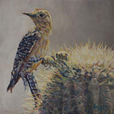 """Colorful Contemporary Wildlife Fine Art Painting, Bird """"GILA"""" by Western Masters Artist Patricia A. Griffin"""