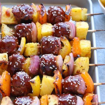 Sweet and Sour Meatball Skewers