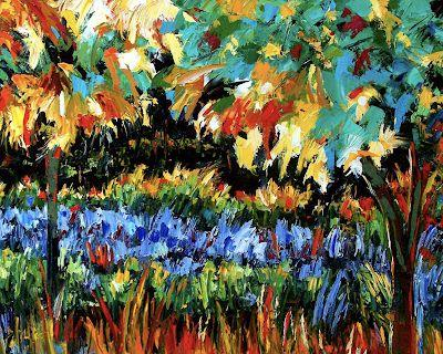 "Abstract Landscape Painting, Palette Knife Oil Painting ""Secret Garden"" by Texas Artist Debra Hurd"