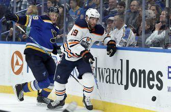 Tarasenko nets 2, gets in rare fight as Blues top Oilers 8-3