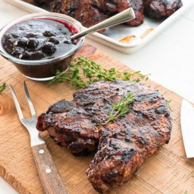 Blueberry Balsamic Grilled Chops