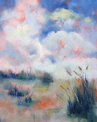 "Contemporary Beach Landscape, ""Clouds and Sea Oats,"" by Amy Whitehouse"