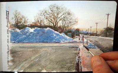 A Snow Pile Behind the Supermarket