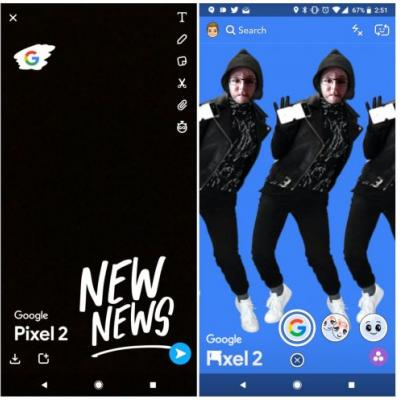 Google Debuts A Snapchat Lens & Filter Promoting The Pixel 2
