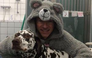 Vet Dons Adorable, Perfume-Scented Onesie To Calm Anxious Patient
