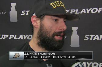 Nate Thompson after Ducks even series at 2