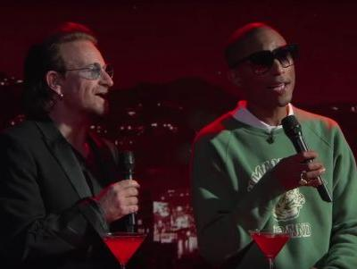"Watch Bono & Pharrell Sing ""Stayin' Alive"" On Jimmy Kimmel's Show"