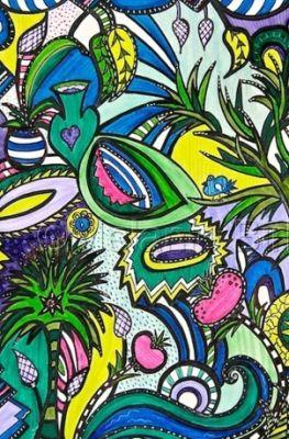 "Colorful Original Contemporary Art ""Sea Garden"" by Santa Fe Artist and Designer Melanie Birk"