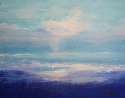 """Original Contemporary Seascape Painting """"Feasting on Plums"""" by International Abstract Realism Artist Arrachme"""