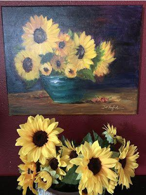 """Expressive Still Live Floral Painting, Colorful Original Flower Art, """"YOU ARE MY SUNSHINE; MY ONLY SUNSHINE!"""" by Texas Contemporary Artist Jill Haglund"""