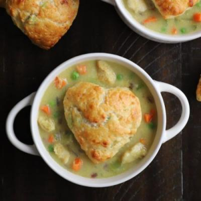 Golden Chicken Soup with Biscuits