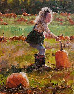 """""""This One Mom"""" pumpkin patch paintings by Robin Weiss"""