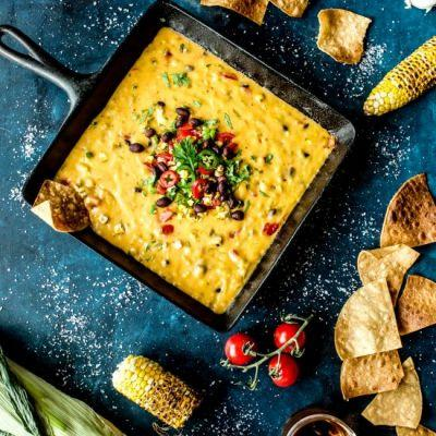 Spicy Queso with Roasted Corn