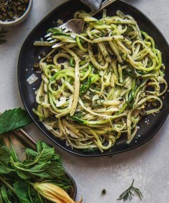 Half and Half: Linguini with Divine Flavor Zucchini Noodles, Herbs & Fried Capers